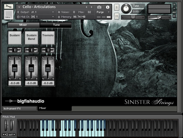 Sinister Strings GUI Screen