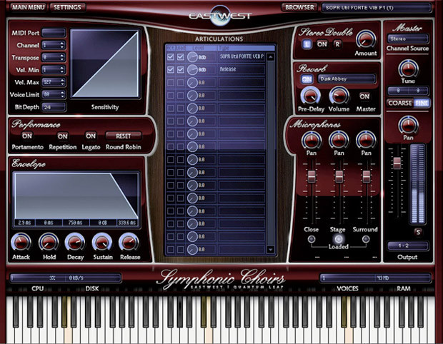 Symphonic Choirs Main Screen