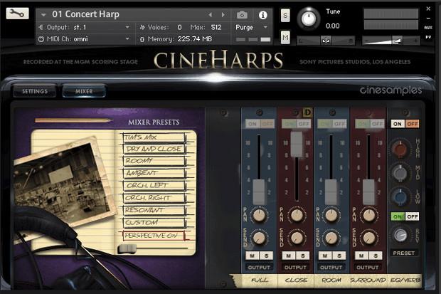 CineHarps GUI Screen