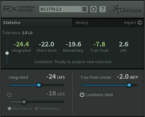 RX Loudness Control Screen