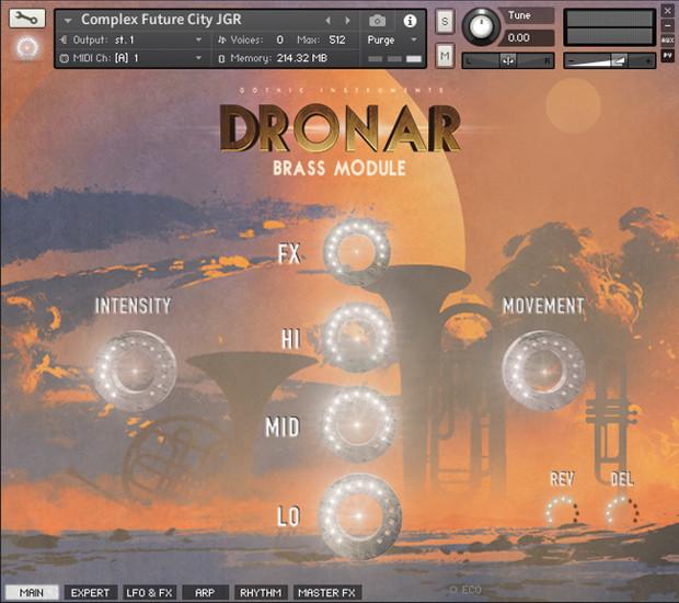 Dronar Brass GUI Screen