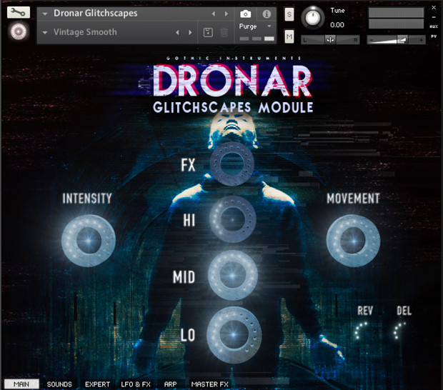 Dronar Glitchscapes UI Screen