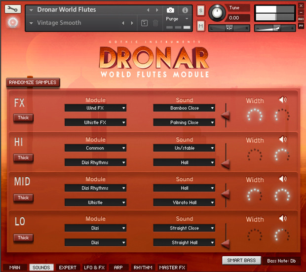 Dronar World Flutes GUI Screen 2