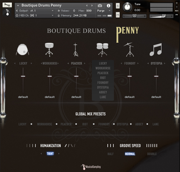 Boutique Drums Penny GUI