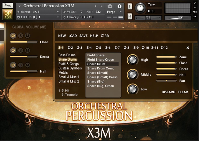 Orchestral Percussion X3M GUI