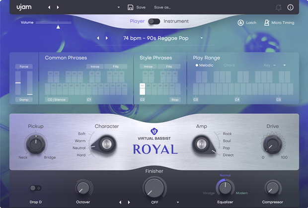 Virtual Bassist Royal 2 GUI