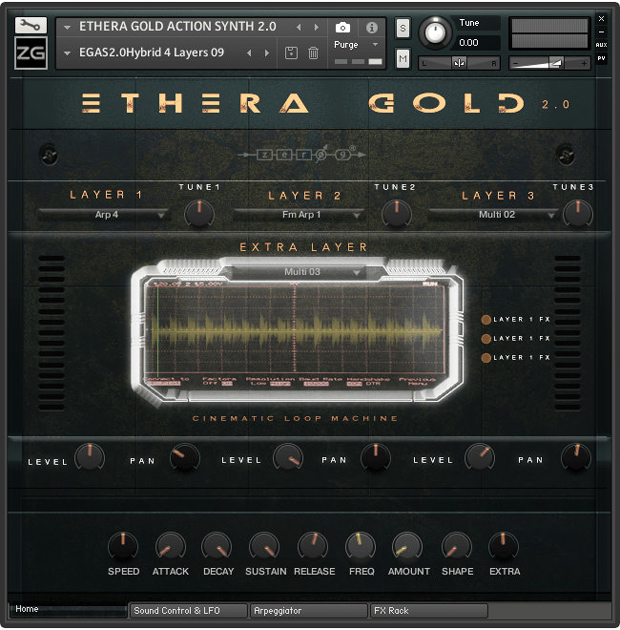 Ethera Gold 2.0 Action Synth GUI