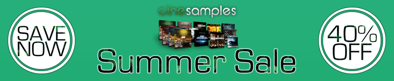 Banner Cinesamples Summer Sale - 40% OFF All Products