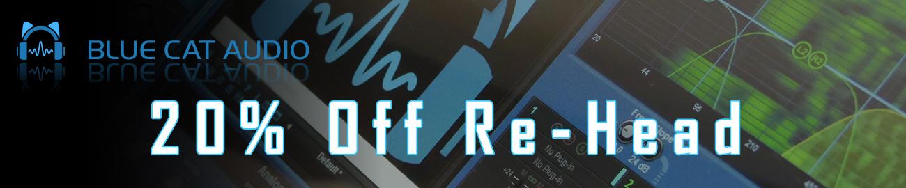 Banner Blue Cat Audio - 20% OFF Re-Head