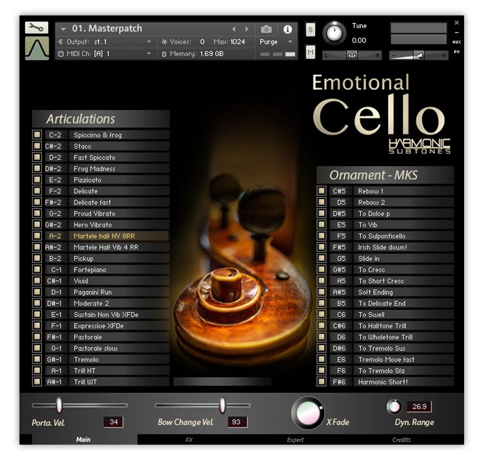 Emotional Cello 1.5 GUI