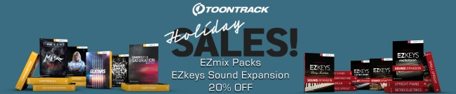 Banner Toontrack: 20% OFF EZmix Packs & EZkeys EXP