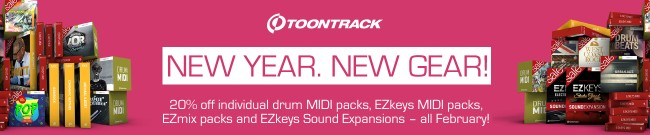 Banner Toontrack - New Year - New Gear - 20% Off
