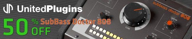 Banner UnitedPlugins Sale - 50% OFF SubBass Doctor 808