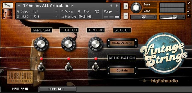 Vintage Strings GUI