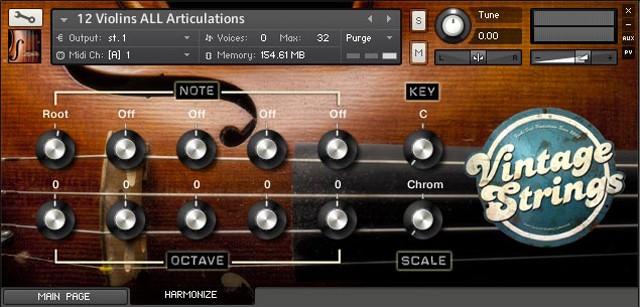 Vintage Strings GUI Harmonizer