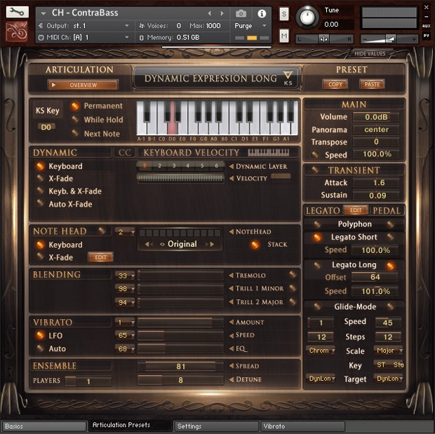 Solo Contrabass GUI Screen 01
