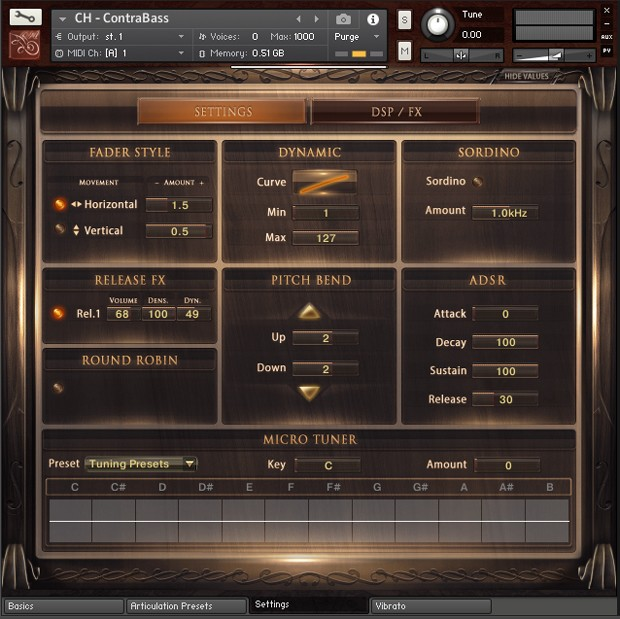 Solo Contrabass GUI Screen 02