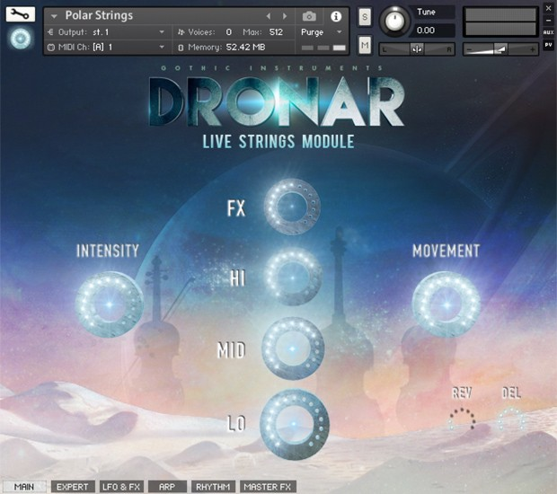 Dronar Live Strings GUI
