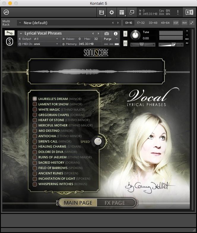 Lyrical Vocal Phrases Interface