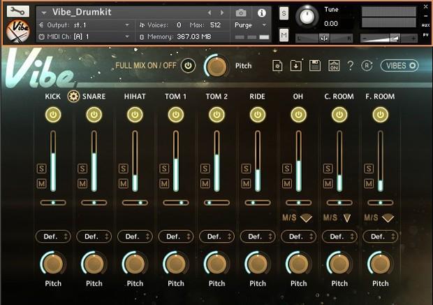Vibe Instant Drumkit GUI Screen 1