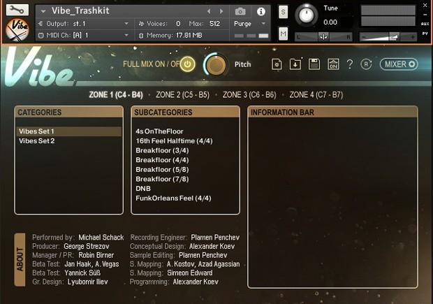 Vibe Instant Drumkit GUI Screen 2