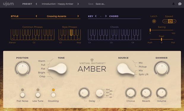Virtual Guitarist Amber GUI Screen