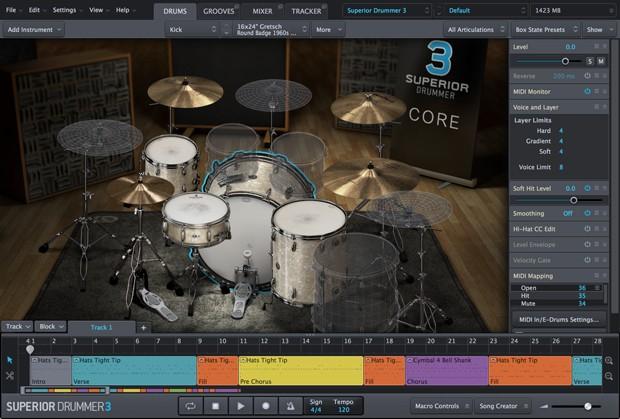 Superior Drummer GUI Screen 1