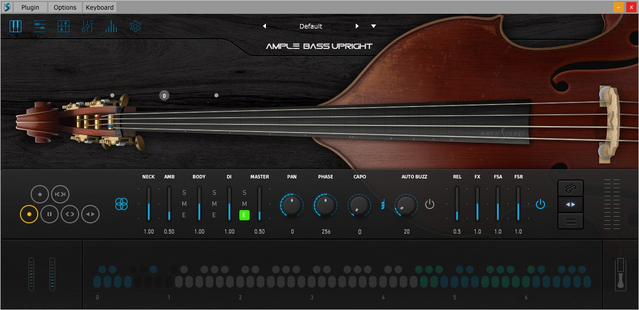 Upright Bass Main GUI Screen