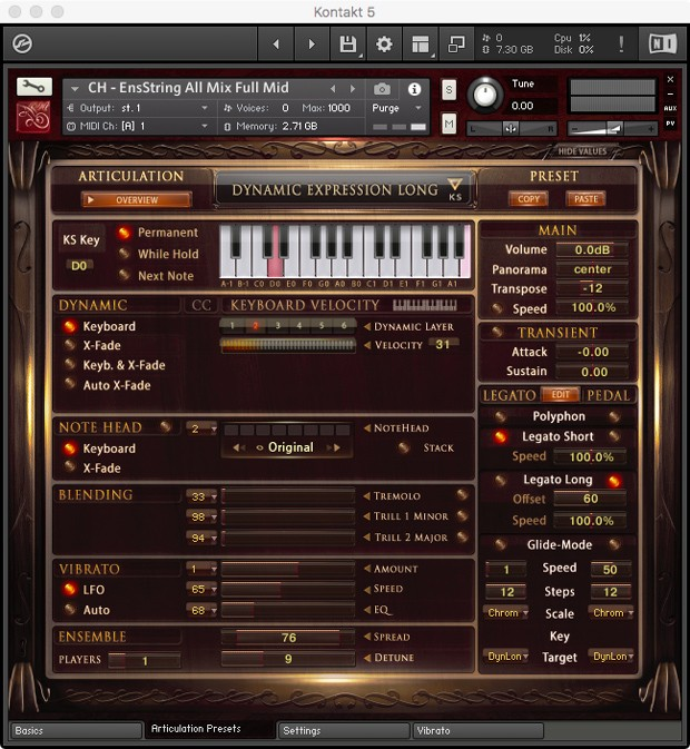 Ensemble Strings GUI Articulations Screen