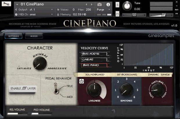 CinePiano GUI Screen 2