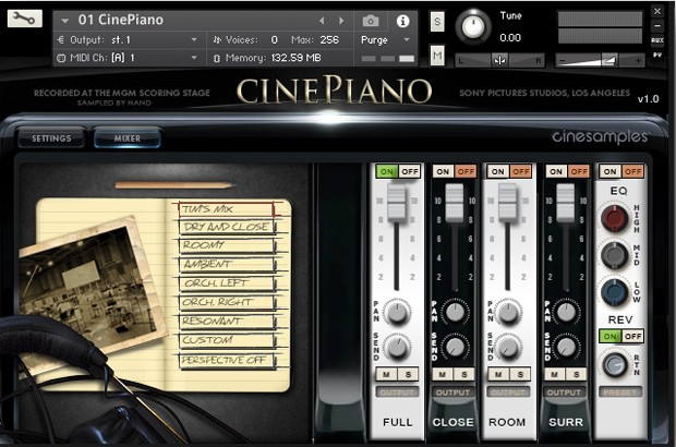 CinePiano GUI Screen 1