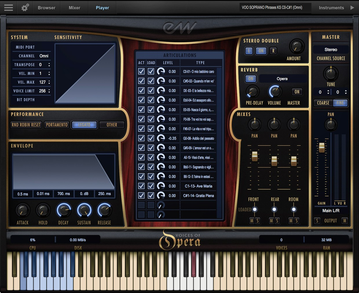 Voices of Opera GUI Screen