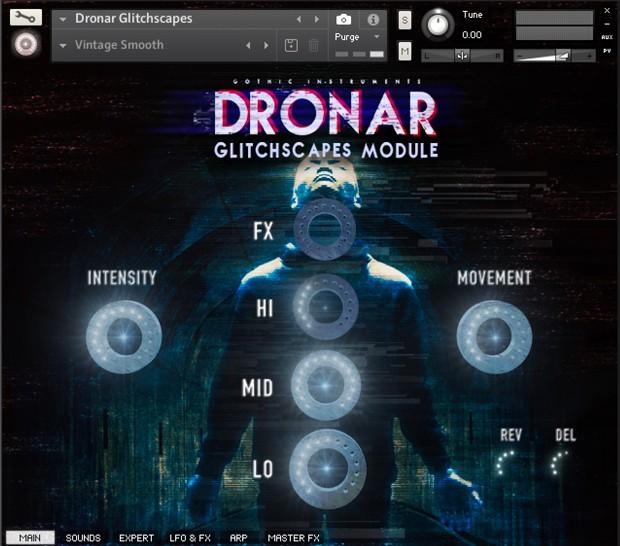 Dronar Glitchscapes UI Screen
