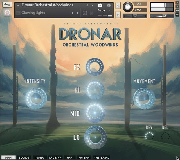 Dronar Orchestral Percussion GUI Screen