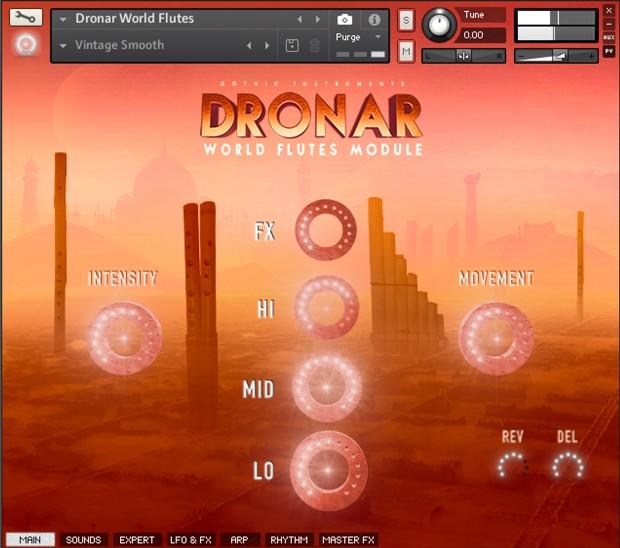 Dronar World Flutes GUI Screen