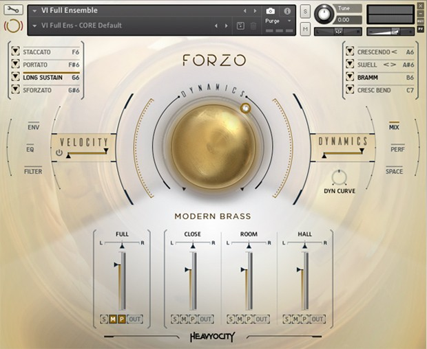 Forzo Modern Brass Main GUI Screen