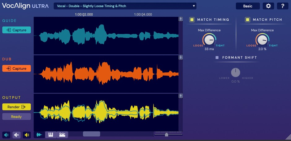 VocAlign Ultra GUI Basic View