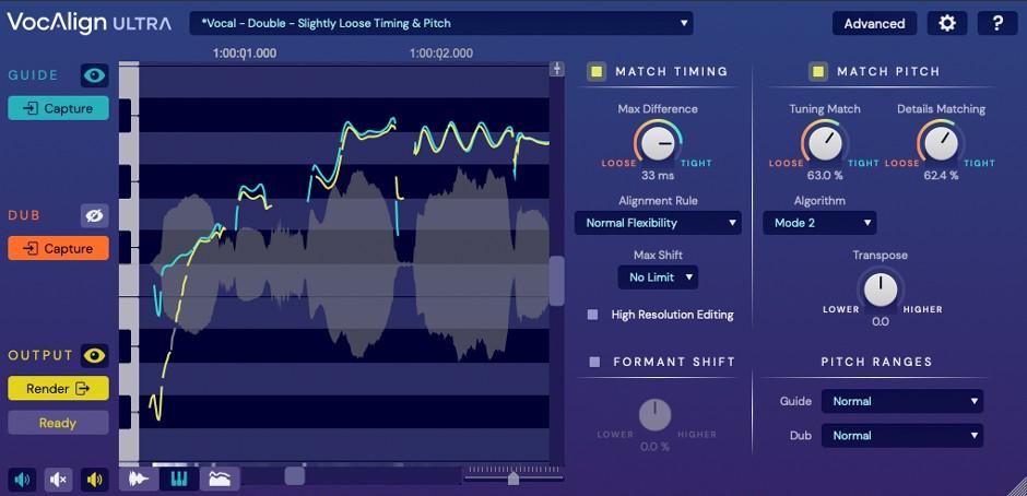 VocAlign Ultra Pitch View GUI