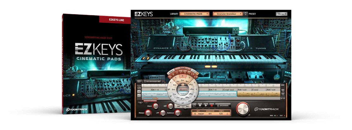 EZkeys Cinematic Pads Box and Screen