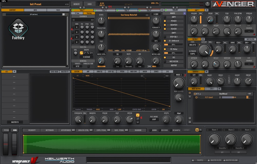 Avenger GUI Wavetable
